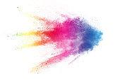 Colorful background of pastel powder explosion.Multi colored dust splash on white background.Painted Holi.