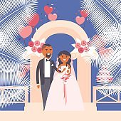 Bride and groom at wedding ceremony, vector illustration. Flat style cartoon characters and symbols of love. Happy newlywed couple standing under wedding arch
