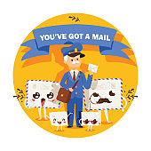 Postman vector mailman delivers mails in postbox or mailbox and post people character carries mailed letters in letterbox illustration backdrop postal delivery service background