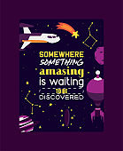 Spaceships in cosmos with planets poster vector illustration. Travel to new planets and galaxies. Space trip technology. Constellation with falling star. Rocket in outer or open space.
