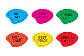 PrintSet of sale / discount labels in blue, pink, green, orange, yellow and red colors.Modern, trendy, organic, curvy geometric shape tags for advertisements, brochures and websites.