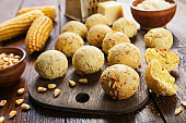 Cheese balls made with corn flour on the table