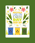 Sorting garbage motivational poster vector illustration. Different sorting recycle bins. Waste suitable for recycling. Paper, plastic, glass and organic garbage. Segregate waste management.