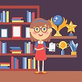 Smart girl holding certificate, vector illustration. Happy proud kid won award in school competition. Books and trophies on shelves in classroom. Smiling schoolgirl