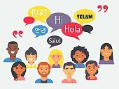 People speak different languages, vector illustration. Flat style portraits of men and women from around the world with speech bubbles. Learn foreign language