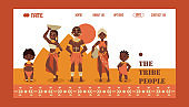 African family, native tribe people, vector illustration. Travel agency website design, exotic tours to Africa. Group of ethnic tribe characters in traditional clothes