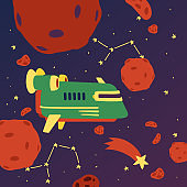 Spaceships in cosmos with planets banner vector illustration. Travel to new planets and galaxies. Space trip technology. Constellation with falling star. Rocket in outer space.