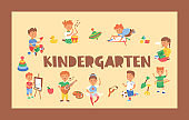 Kids vector cartoon girl boy characters children playing music on guitar and kids painting studying at kindergarten backdrop illustration childish playroom background