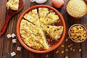 Millet casserole with raisins