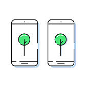 Two smartphone icons with trees in simple line style. Outline cell phone vector.
