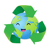 Reduce Reuse Recycle concept, Paper art style of the world smiled happily with three green arrows surrounded, Happy earth day, World environment day
