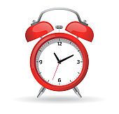 Red alarm clock Vector illustration