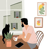 Stay at home. Young man looks out window. Vector illustration.