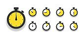 Stopwatch, timer icons set. Speed measurements, countdown from 0 to 60 seconds. Vector illustration