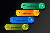 stylish four steps infographic design in dark theme