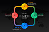 infographic presentation with four steps template design