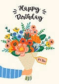 Happy Birthday. Vector illustration of cute bouquet of flowers.