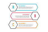 three line style infographic banners