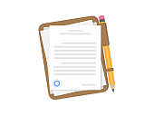 Documents with pen on a brown folder. Agreement. Contract with a seal. Flat style.