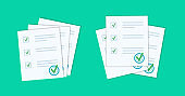 Stack of documents with a stamp. Contract, agreement, survey, exam. Vector illustration in a flat style.