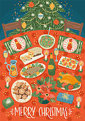 Christmas and Happy New Year illustration of christmas table. Festive meal