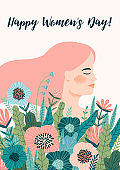 International Women s Day. Vector template with woman and flowers