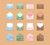 Set of blue, pink, green and brown envelopes  in a different views on brown background. Set of icons depicting a closed and open letters with white sheets inside and post stamps. Cute mail icons.