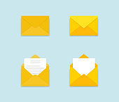 Set of yellow envelopes in a different views on blue background. Paper envelope mockups. Set of icons depicting a closed letter. Paper document in an envelope. Delivery of correspondence. Mail icon.