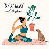Stay at home. Young woman does yoga. Vector illustration.