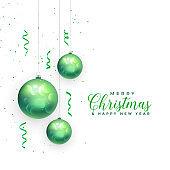 christmas balls festival decoration card design background