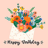 Happy Birthday. Vector illustration of cute bouquet of flowers in envelope