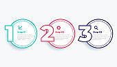 circular line three steps modern infographics template