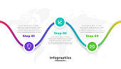 three steps modern professional infographic template design