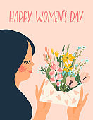 International Women s Day. Vector templates with cute woman