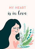 Romantic illustration with woman. Vector design concept for Valentines Day and other users.