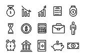 Set of banking icons. Briefcase, safe, dollar, coin, cent, contract, calculator, profit growth, bag of money. Thin line.