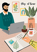Stay at home. Woman writes a diary , man works at home. Vector illustration