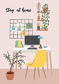 Stay at home. Workplace at home. Vector illustration.