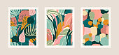 Collection of art prints with abstract leaves. Modern design