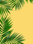 Green plants summer concept template for your text or design on yellow  paper background.
