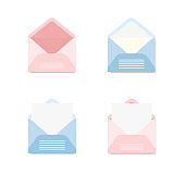 Set of blue and pink envelopes  in a different views on white background. Set of icons depicting a open letter. Paper document in an envelope. Delivery of correspondence. Mail icon. Vector