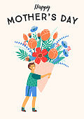Happy Mothers Day. Vector illustration of boy with big bouquet of flowers.