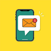 Incoming message icon on the phone in a flat style. Colorful, bright concept of incoming message on smartphone. Vector illustration