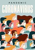 Coronavirus pandemic. 2019-nCoV. Vector illustration of people in white medical face mask