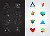 Big Set of Geometric Shapes Unusual and Abstract. Vector Logo. Polygonal Colorful Logotypes.