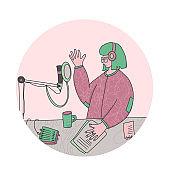 Podcast concept. Vector social media blog design.