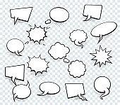 Set of blank template in Pop Art style. Vector Comic Text Speech Bubble Halftone Dot Background. Empty Cloud of Comics book dialog Space for Cartoon Box pop-art.
