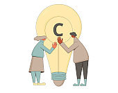 Intellectual property rights. Vectror characters with creaive new idea symbol. Plagiarism and infringement of copyright