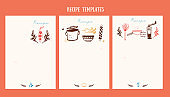 Recipe banner menu design with cute doodle icons, food set flyer cover