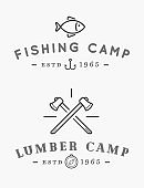 Camping templates vector design elements and silhouettes set, Fishing and Lumberjack.